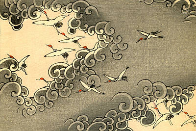 Crane Painting - Vintage Japanese Illustration Of Cranes Flying In Grey Clouds  by Japanese School