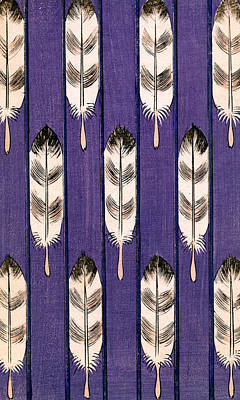 Lavender Drawing - Vintage Japanese Illustration Of Feathers On A Lavender Background by Japanese School