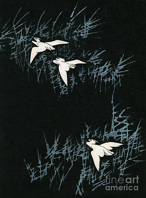 Stork Painting - Vintage Japanese Illustration Of Three Cranes Flying In A Night Landscape by Japanese School