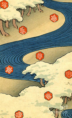 Holiday Drawing - Vintage Japaneses Illustration Of Falling Snowflakes In An Abstract Winter Landscape by Japanese School