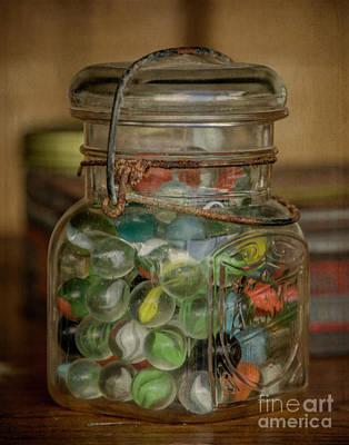 Photograph - Vintage Jar Of Marbles by Teresa Wilson