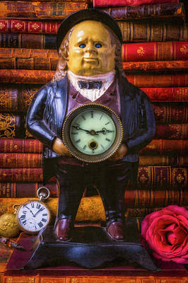 Photograph - Vintage John Bull Clock With Books by Garry Gay