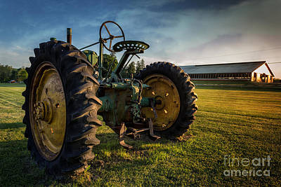 Plow Photograph - Vintage John Deere At Sunset by Edward Fielding