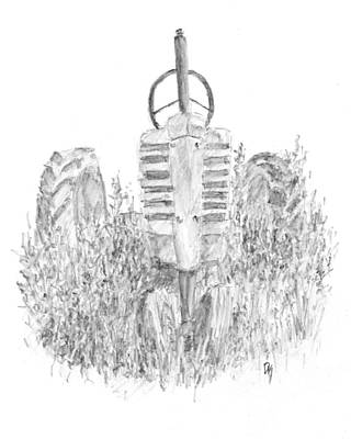 Tractor Drawing - Vintage John Deere Tractor Sketch by David King