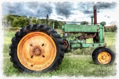 John Digital Art - Vintage John Deere Tractor Watercolor by Edward Fielding