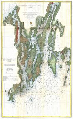 Coastal Maine Drawing - Vintage Kennebec And Sheepscot River Map - 1862 by CartographyAssociates