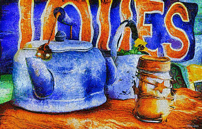 Photograph - Vintage Kettles-abstract Van Gogh by Anna Louise