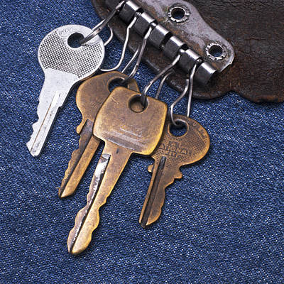 Vintage Key Holder With Keys Print by Donald  Erickson