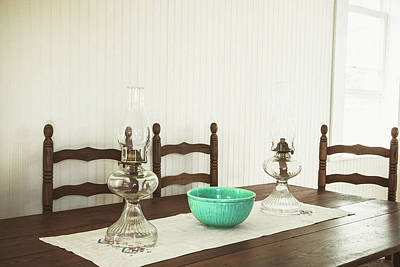 Hurricane Lamps Photograph - Vintage Kitchen Dining Room by Debi Bishop