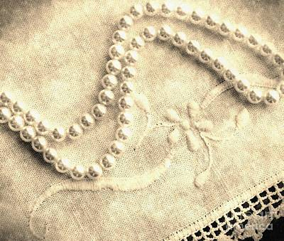Vintage Lace And Pearls Art Print by Barbara Griffin