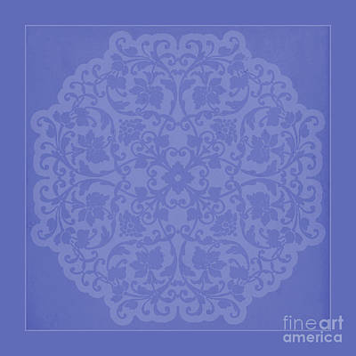 Lace Mixed Media - Vintage Lace Silhouette In Deep Periwinkle Blue by Tina Lavoie