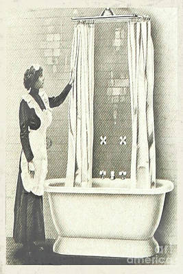 Nikki Vig Digital Art - Vintage Lady Cleaning Bathroom Shower by Nikki Vig