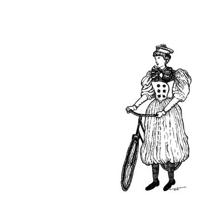 Bike Drawing - Vintage Lady With Bicycle by Karl Addison