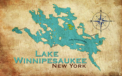 Digital Art - Vintage Lake Winnipesaukee Ny Map by Greg Sharpe
