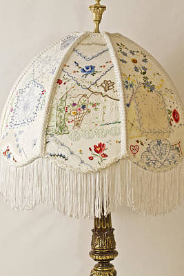 Crazy Quilt Photograph - Vintage Lampshade Handstitched by Sandra Foster