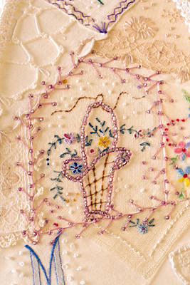 Quilts For Sale Photograph - Vintage Lampshade Panel Detail by Sandra Foster