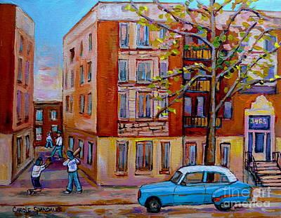 Painting - Vintage Laneway Baseball Game Montreal Memories Classic Chevrolet Canadian Painting Carole Spandau   by Carole Spandau