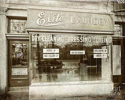 Urban Store Painting - Vintage Laundromat by Mindy Sommers