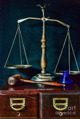 Solicitors Photograph - Vintage Lawyer Scales Of Justice by Paul Ward