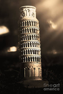 Vintage Leaning Tower Of Pisa Statue  Art Print by Jorgo Photography - Wall Art Gallery