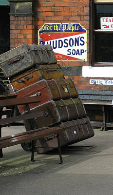 Photograph - Vintage Leather Luggage At The Rail Station by Tom Conway