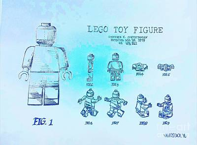 Vintage Lego Toy Figure Patent - Blue Abstract Original