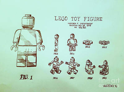Vintage Lego Toy Figure Patent - Blue Green Background Original