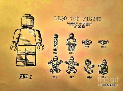 Vintage Lego Toy Figure Patent - Golden Abstract Original
