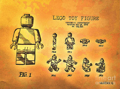 Vintage Lego Toy Figure Patent - Golden Yellow Abstract Original