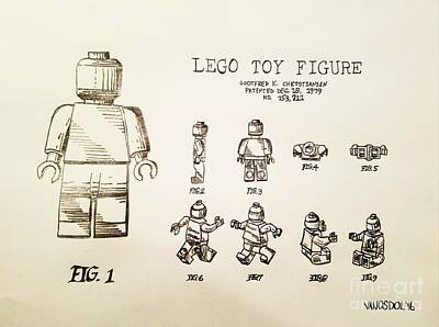Vintage Lego Toy Figure Patent - Graphite Pencil Sketch Original