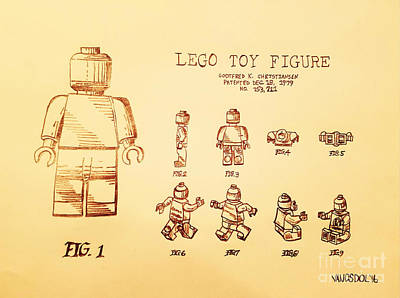 Action Lines Digital Art - Vintage Lego Toy Figure Patent - Peach Background by Scott D Van Osdol