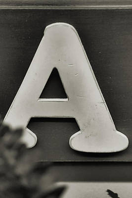 Photograph - Vintage Letter A Black And White by Kyle West
