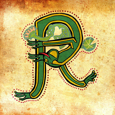 Digital Art - Vintage Letter R Frog by Donna Huntriss