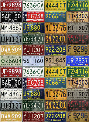 Vintage License Plates From Michigan's Rich Automotive Past Print by Design Turnpike