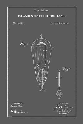 Drawing - Vintage Lightbulb Patent by Vintage Pix