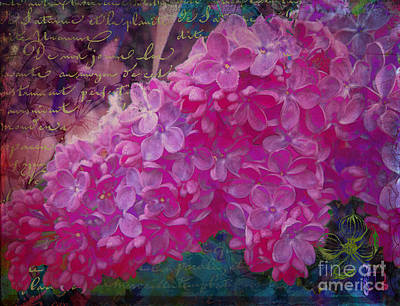 Grungy Mixed Media - Vintage Lilacs, Vintage French Handwriting, Floral Art by Tina Lavoie