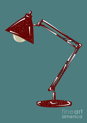 Lino Drawing - Vintage Linocut Desklamp by Shawn Hempel