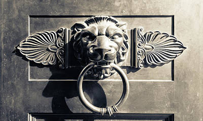 Photograph - Vintage Lion Door Knocker On A Wooden Door by Jacek Wojnarowski