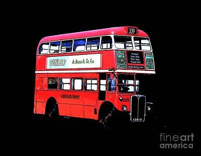 Double Decker Drawing - Vintage London Bus Tee by Edward Fielding
