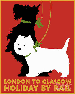 Scottish Dog Painting - Vintage London To Glasgow By Rail Terrier Dogs Travel Poster by Tina Lavoie