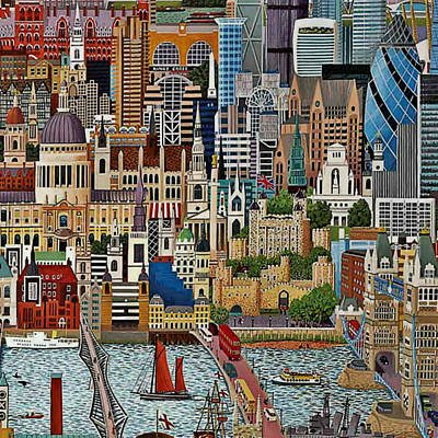 Print featuring the drawing Vintage London by Digital Art Cafe