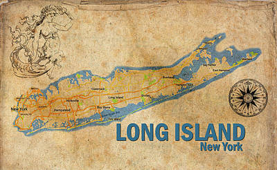 Digital Art - Vintage Long Island Ny Print by Greg Sharpe