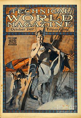 Edwardian Woman Digital Art - Vintage Magazine Cover Art Print by Paper Moon Media