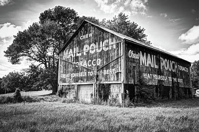 Mail Pouch Barn Photograph - Vintage Mail Pouch Tobacco Barn - Black And White Edition by Gregory Ballos