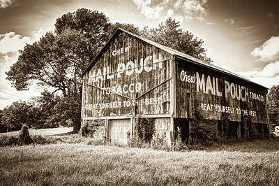 Photograph - Vintage Mail Pouch Tobacco Barn - Sepia Edition by Gregory Ballos