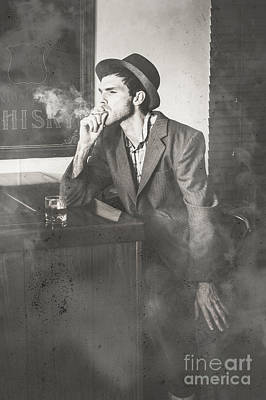 Vintage Man In Hat Smoking Cigarette In Jazz Club Art Print by Jorgo Photography - Wall Art Gallery