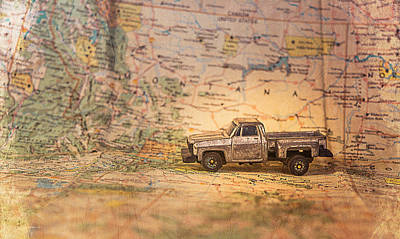 Art Print featuring the photograph Vintage Map And Truck by Mary Hone