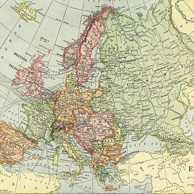 Photograph - Vintage Map Europe  by Digital Art Cafe
