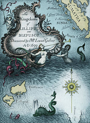 Drawing - Vintage Map From Gulliver's Travels By Jonathan Swift by Rex Whistler