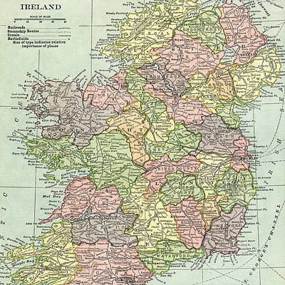 Photograph - Vintage Map Ireland by Digital Art Cafe